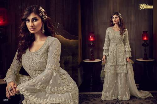 Swagat Violet Snow White 6601-6609 Series Suits