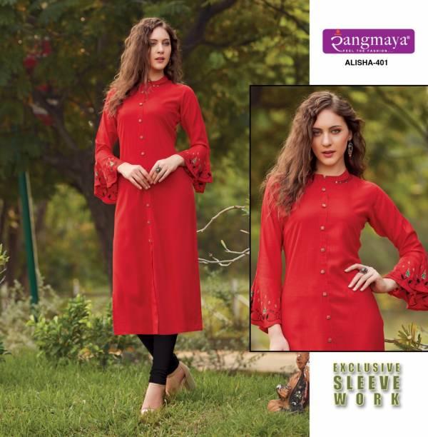 Rangmaya Aisha 401-410 Rayon Straight Kurti