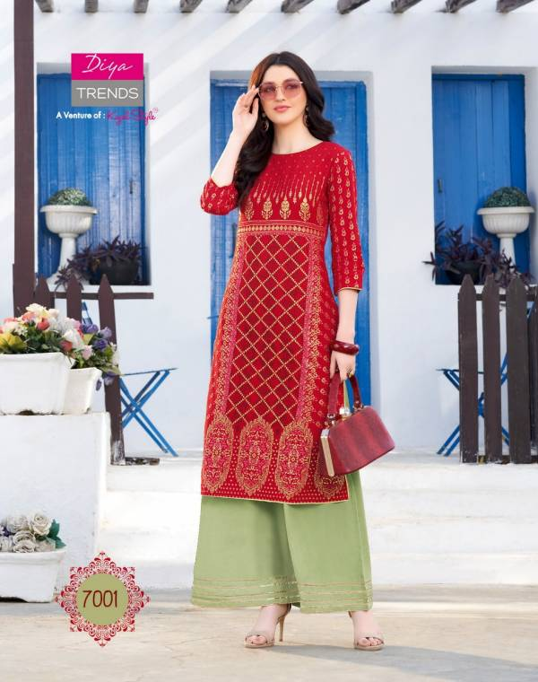 Diya Trends Biba's Vol7 7001-7014 Rayon Kurtis Palazzo