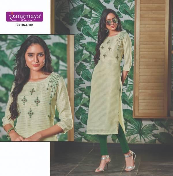 Rangmaya Siyon 101-110 Chanderi Silk Jari Straight Kurti